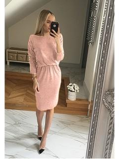 Sukienka Kieszonka Pudrowa