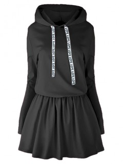 Sukienka Taśma Kaptur Czarna