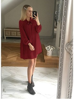 Sukienka Plisa Bordowa