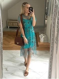 Sukienka Tiul Kwiaty Turkusowa
