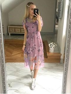 Sukienka Tiul Kwiaty Pudrowa