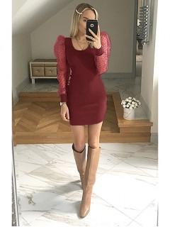 Sukienka Bufka Bordowa