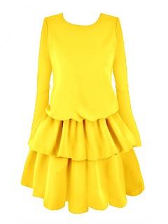 Sukienka Falbany Miodowa