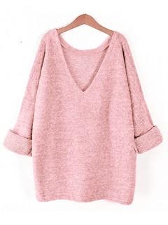 Sweter Obustronny V-Neck Blush