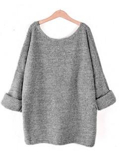 Sweter Obustronny V-Neck Szary Melange