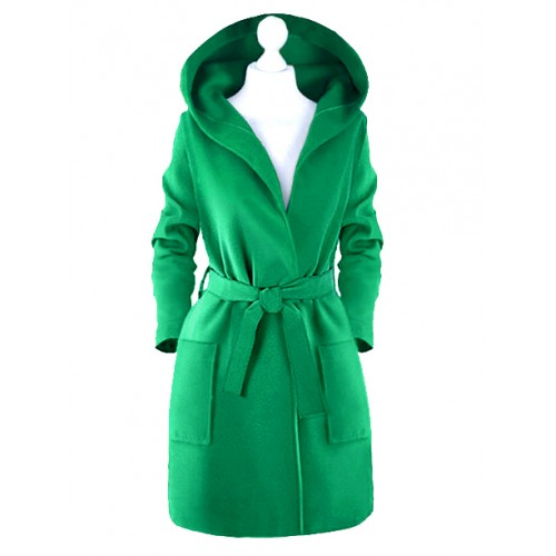 Płaszcz Kaptur Zielony