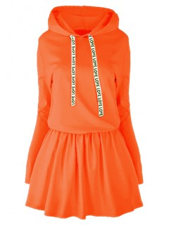Sukienka Taśma Kaptur Neon Pomarańcz