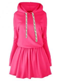 Sukienka Taśma Kaptur Neon Róż