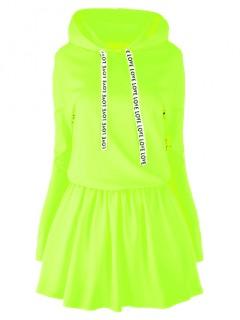 Sukienka Taśma Kaptur Neon Zółty