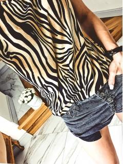 Bluzka Krepa Zebra Beżowa