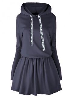 Sukienka Taśma Kaptur Granatowa