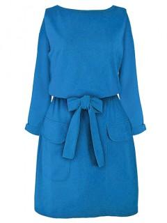 Sukienka Wiązana Niebieska