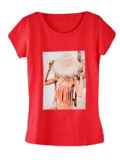 Koszulka Bluzka T-shirt Elegant Czerwona