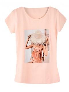 Koszulka Bluzka T-shirt Elegant Pudrowa