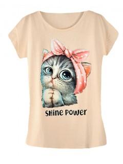 Koszulka Bluzka T-shirt Shine Power Beż
