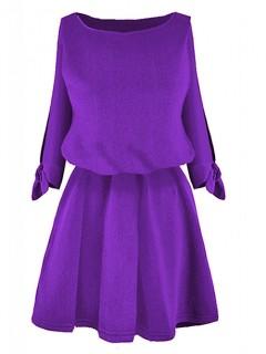 Sukienka Rozcięcia Fioletowa