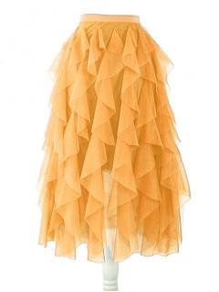 Spódnica Tiulowa Miodowa
