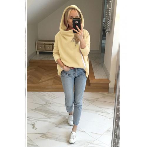Bluza Asymetryczna Pastelowy Żółty