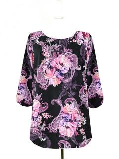 Bluzka Klasyczna Kwiaty Wzory W71