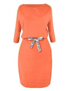 Sukienka Taśma Intensywny Pomarańcz