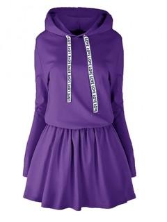 Sukienka Taśma Kaptur Fioletowa