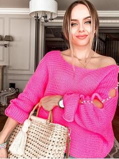 Sweter Łezki Neonowy Róż