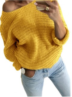 Sweter Nietoperz Musztardowy
