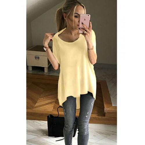 Bluzka Asymetryczna Pastelowy Żółty