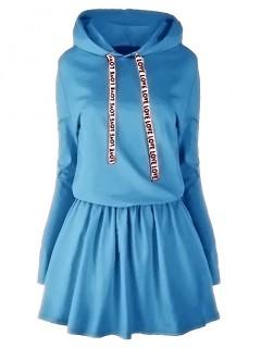 Sukienka Taśma Kaptur Niebieska