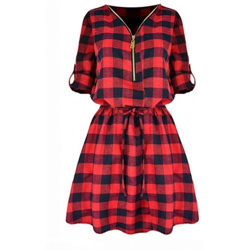 Sukienka Flanela ZIP Red