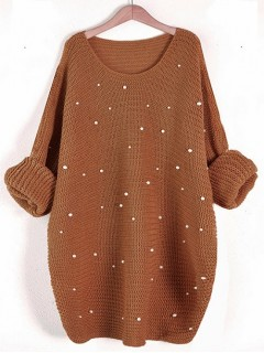 Sweter Perły Karmel