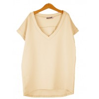 Bluzka V-neck BASIC Nude