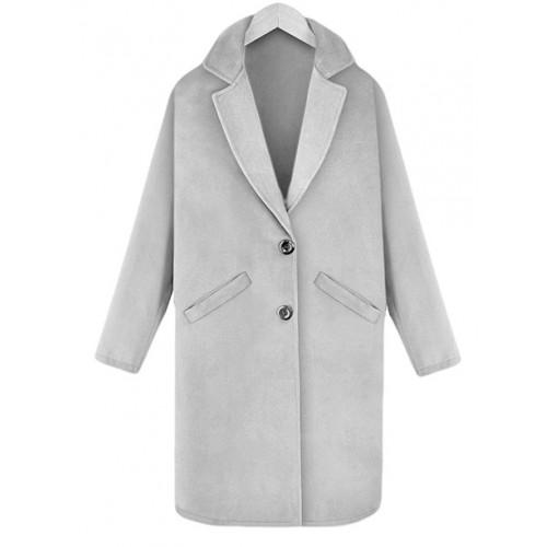 Płaszcz Flausz Kołnierz Grey