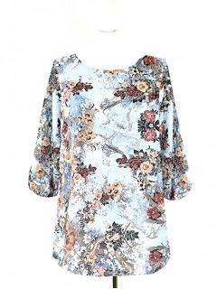 Bluzka Klasyczna Kwiaty Wzory W46