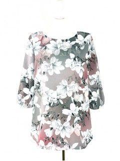 Bluzka Klasyczna Kwiaty Wzory W62