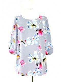 Bluzka Klasyczna Kwiaty Wzory W65