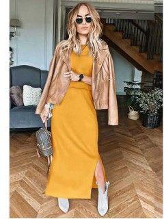 Sukienka Awanti Maxi Musztardowa