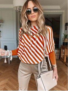 Asymetryczna Bluzka Pomarańczowa