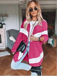 Sweter Kardigan Pas Fuksja