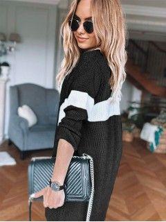 Sweter Kardigan Pas Czarny