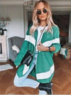 Sweter Kardigan Pas Zielony