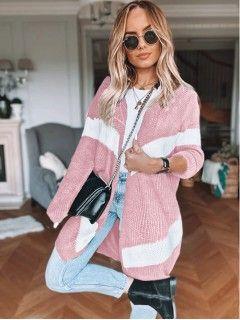 Sweter Kardigan Pas Pudrowy
