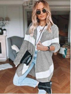 Sweter Kardigan Pas Szary