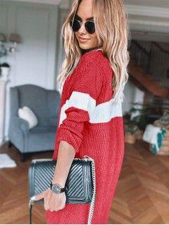 Sweter Kardigan Pas Czerwony
