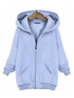 Bluza Basic Zamek Błękitna