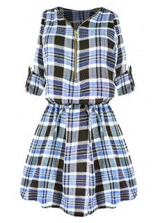 Sukienka Flanela ZIP Blue