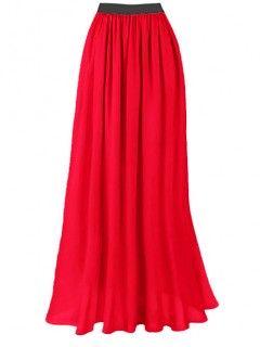 Spódnica Maxi Szyfon Czerwona