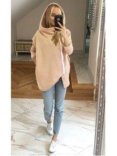 Bluza Asymetryczna Pastelowy Łosoś