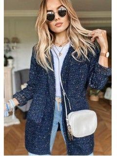 Sweter Kardigan Multikolor Granatowy