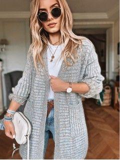Sweter Kardigan Multikolor Szary